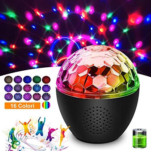 Discokugel Discolicht mit 16 Beleuchtungsform LED Party MEKUULA Bluetooth-Audio Einstellbare Lichthelligkeit und Drehgeschwindigkeit,für Halloween Kinder Geburtstag Bar Karaoke,Eingebaute Batterie