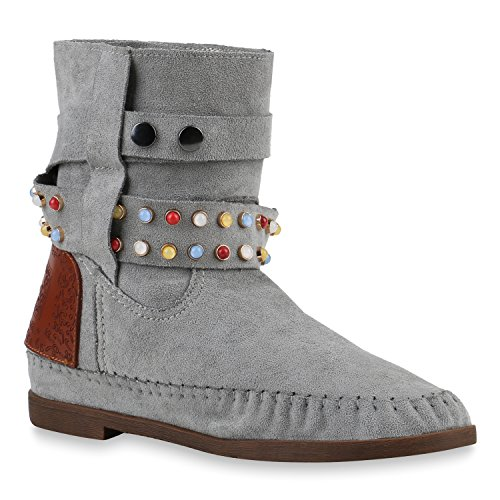 Stiefelparadies Damen Schuhe Ethno Boots Stiefeletten Mokassin Stiefel Schlupfstiefel 144035 Hellgrau Ethno 39 Flandell