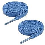 Cordones de zapatos - SODIAL(R)2 Pares Cuerda de calzado deportivo Cordones de zapatos planos para unisex Celeste