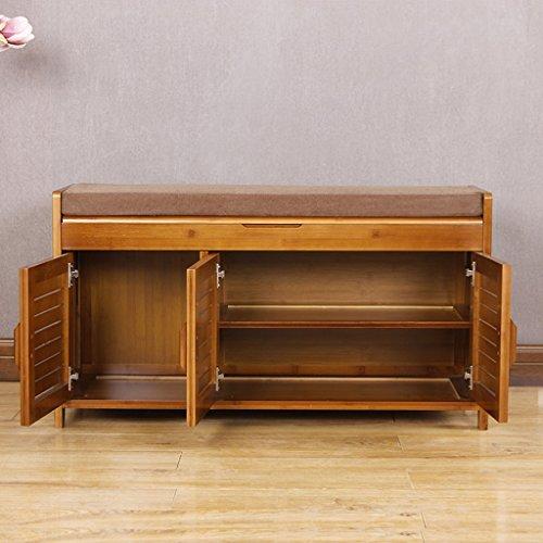 ZHEN GUO SHELF 2 Tier natürliche Bambus Schuh Bank Schrank mit Kissen und Schublade auf der Oberseite, über die Tür aus Holz Schuh Rack Organizer (größe : L 90cm) (Espresso-holz-schuh)