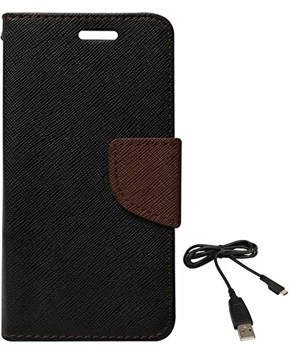 DMG Mercury Goospery Case Fancy Diary Flip Wallet Cover for Motorola Moto E (Black Brown) + Data Cable