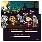 Einladungskarten lustig schaurig 12er Set Kindergeburtstag Feier Monster Party Jungen Mädchen Kinder Erwachsene Geburtstagseinladungen Karten Monsterparty