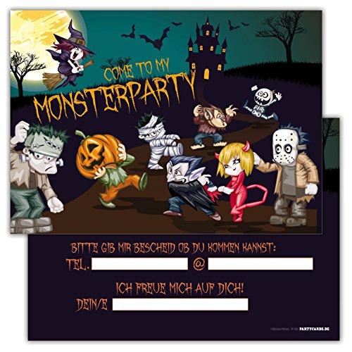 tig schaurig 12er Set Kindergeburtstag Feier Monster Party Jungen Mädchen Kinder Erwachsene Geburtstagseinladungen Karten Monsterparty (Katze Im Hut-geburtstag-einladungen)