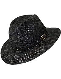 EveryHead Fiebig Sombrero De Paja Los Hombres Verano Australiano Vaquero  Texas Vacaciones Equinácea Con Cinturón Decorativo b5012cee390