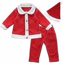 FEESHOW Disfraz de Niño Navidad 3PC Conjuntos de top y Pantalones y Gorro Papá Noel Bebé Camiseta Otoño e invierno
