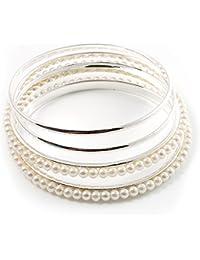 Smooth & Imitation Pearl Beaded Bangles - Set of 4 (Silver & Light Cream)