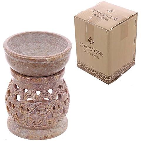 Bruciatore per olio in pietra saponaria, con motivo a spirale, colore: rosa pallido