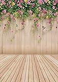 AIIKES 1.5Mx2.1M/5x7piedi Fondali in legno Sfondo Fotografico Neonati Foto Bambino Fiore sfondo Vinile Fotografia Fondali Per Studio Fotografico 96-10