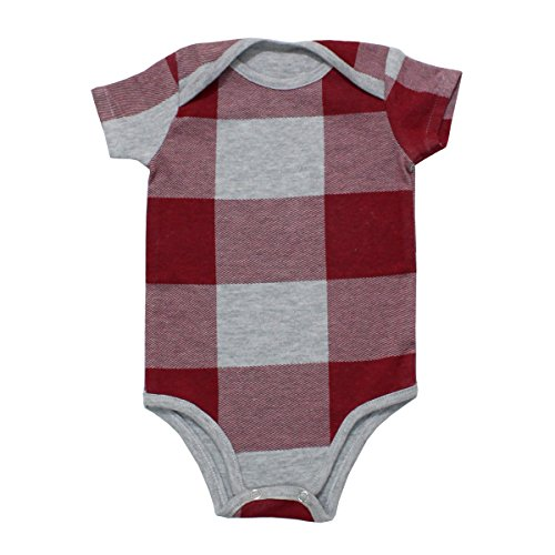 Kadambaby Onesie for Baby Girl, 100% premium cotton onesie for newborn, Maroon Grey Check bodysuit Romper onesie for baby girl (12-18 Months)
