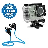 #3: Drumstone 1080P 12Mp Car Bike Helmet Cam Sports Dv Action Waterproof Camera with SPORTS Bluetooth Jogger Headset Wireless 4.0 Compatible with Xiaomi, Lenovo, Apple, Samsung, Sony, Oppo, Gionee, Vivo Smartphones (One Year Warranty)