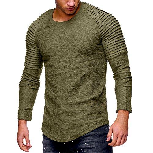 JL&LJ Herren T-Shirt Tops Baumwolle Rundhals Sommer Fashion Sports Shirts Oversize Kurzarm/Lange Ärmel Sweatshirt(Long-AG,l)