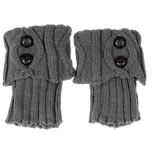 Vidlan Damen stricken Stulpen Socken (Grau) (Kinder-schuhe Kabel-stricken)