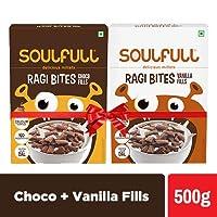Soulfull Ragi Bites, Choco + Vanilla Fills- No Maida, High Calcium, 500g (Choco + Vanilla)