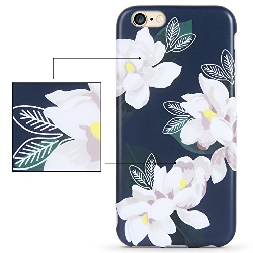 iPhone 7 Plus Hülle,iPhone 8 Plus Hülle,Imikoko® Elegant Blumen Blumenmuster Retro Floral Malerei Series Beauty Protective Schützend Stoßfest Anti Staub Kratzer Soft Weich TPU Handyhülle Case Back Cov Weiß Gardenie