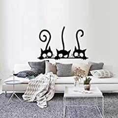 Idea Regalo - Topgrowth Wall Sticker Tre Gatti Animale Domestico Camera Finestra Adesivo da Parete Decorazione Murale Removibile (Nero)