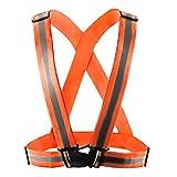 Frisch Rodiggio giubbotto di sicurezza riflettente regolabile Cintura in vita strisce giacca ad alta visibilità per outdoor jogging, ciclismo, correre, camminare, moto equitazione verde, unisex, orange, Taglia unica