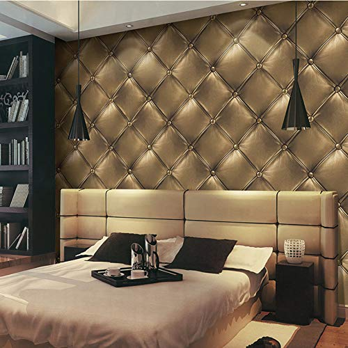 ASDBIZH Hochwertige 3D Tapeten 3D Kunstleder Bett TV-Hintergrundwand KTV Bar Hotel Wohnzimmer PVC kein Klebstoff 053m * 10m 3231 Gelb -