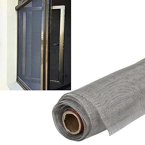 Yahee Insektenschutzgewebe Fliegengitter Netz aus Alu für Fenster Tür, Silber(S_120 x 60 cm)