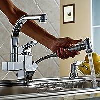 Nuovo Pull Out moderna Giù spruzzatore rubinetto da cucina lavello del vaso del rubinetto in ottone massiccio argento cromato da cucina girevole rubinetti del bacino Deck Monte