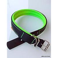 [Gesponsert]BioThane® Hundehalsband BioNeo mit Neopren unterlegt schwarz/neongrün mit Dornschnalle 5 Größen (XS 34 - 40cm)