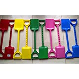 2 X 53 Cm Large Size Sturdy Beach / Sand Pit Spades 5 Colours - 1 Set = 2 Spades