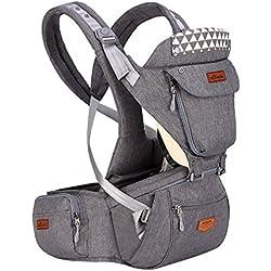SUNVENO Porte-bébé avec Hipseat amovible et capuche ergonomique Infant Sac à dos avant Transporteurs (Gris)