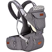 SUNVENO Baby Carrier with Detachable Hipseat & Hood Ergonomic Infant Backpack Front Carriers (Gray)
