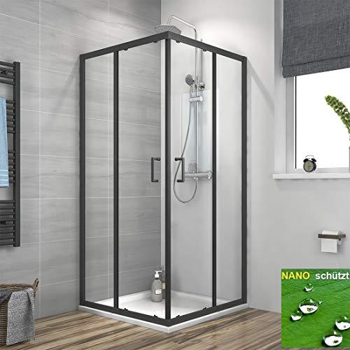 Duschkabine 90x90x190cm Eckeinstieg Schiebetür mit Schwarz Rahmen, Duschabtrennung Eckdusche mit Nano Beschichtung Schwarz 90