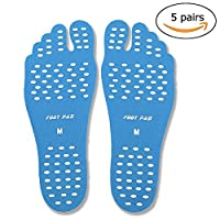 Bellagione Beach Foot Adhesive Pads for Unisex Barefoot 5 pairs Nakefit Stick on Feet Soles with Anti-slip and Water (blue, XL)