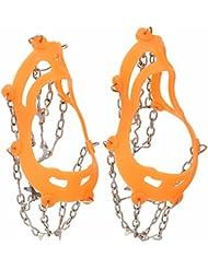 1x Naranja en Portátiles Escalada de Montaña de Lodo de Deslizamiento Crampones Zapato al Aire Libre 10 Dientes