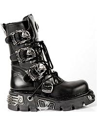 ac7e78a7e1f New Rock 391 Unisexe Métallique Noir Classic Leather Biker Gothic Boot  Toute la Taille