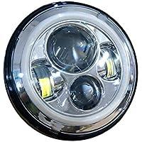 FuriAuto UN PAIO 7 Inch Faro Anteriore LED Rotondo con DRL Signal Halo Angle Eyes Adatto a Jeep 97-15 Wrangler (UN PAIO)