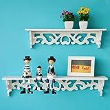 periwinkLuQ Holz-Wandregal, geschnitzt, zum Aufhängen, für Wohnzimmer oder Schlafzimmer, einfache Installation, platzsparend 46cm by 9cm