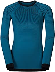 Odlo Evolution Warm-Camiseta de Manga Larga, Color Verde Azul, 140 mm