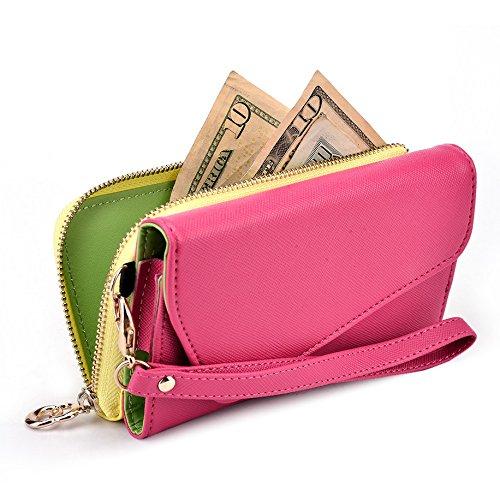Kroo d'embrayage portefeuille avec dragonne et sangle bandoulière pour Smartphone Samsung Galaxy Ace Plus S7500 Noir/rouge Magenta and Yellow