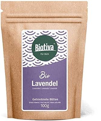 Fleurs de lavande Bio (100g) - bleu, entier - Meilleure qualité biologique de France - thé de lavande, bain ou parfum - Lavandula - bouteille et contrôlée en Allemagne (DE-ÖKO-005)