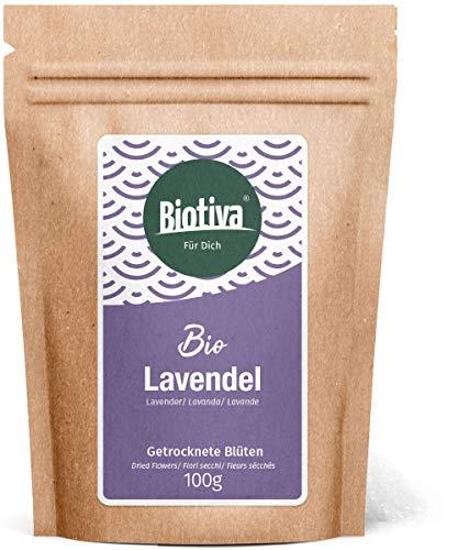 Fiori di lavanda bio (100g) - blu, tutta - miglior qualità organica - dalla francia - per il tè, come un bagno o come un profumo - in bottiglia e controllato in germania (de-eco-005)