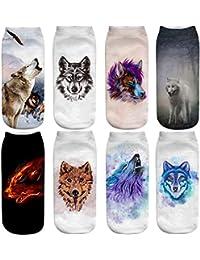 FLYCHEN Calcetines para Mujer 8 pares Zoo Cartoon Animales Modelo de invierno Calcetines de tobillo Fashion