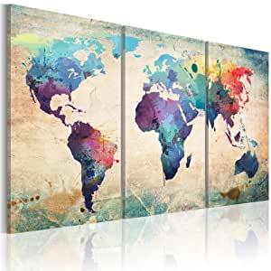 XXL SIZE +++ IMAGE PRINTED ON CANVAS +++ 3 pieces +++ world map +++ Ready to hang +++ 020113-50 +++ 120x60 cm +++ Picture +++ Many other patterns and sizes in our shop +++