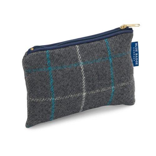 Blue Badge Company Luxus Gepolsterte Baumwolle Reißverschluss bis Kosmetik Geldbörse mit wasserdicht Futter, klein, grau blau kariert (Kosmetik-geldbörse-set)