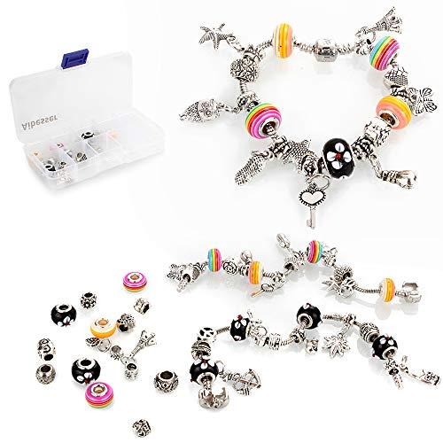 Aibesser Charm Armband Kit DIY Gestreiften Handwerk Perle überzogen mit Silber Bastelperlen Kette Schmuck Geschenk Aufbewahrungsbox Set für Mädchen Teens