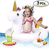 Tacobear Aufblasbarer Baby Schwimmsitz Baby Schwimmen Luftmatratze Schwimmring Schwimmhilfen Schwimmbad mit 2 Getränkehalter Pool Strand See Wasserspielzeug für Kinder (Einhorn)