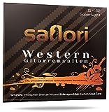Premium Gitarrensaiten Set für Westerngitarren von saflori - Besonders robuste Stahlsaiten mit brillantem Klang - phosphor bronze umwoben - 6 Saiten Set