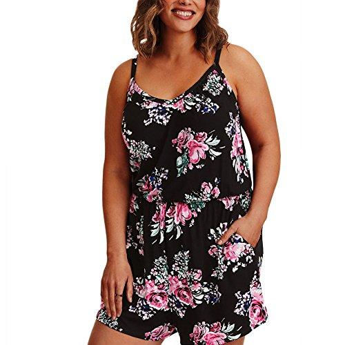 Lover-Beauty Jumpsuit Damen Sommer große größe kurz elegant Blumen Overall lang Hose Spielanzug Frauen Casual elelgant Party Strand Schwarz