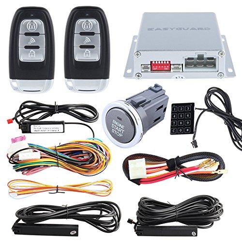 Qualität EasyGuard PKE Auto Alarm System mit Zigarette Plug In Push Button Start Remote Start Starter Passwort Zugang Remote-auto-starter Code Alarm