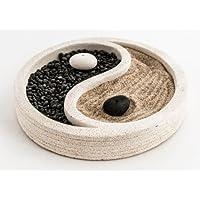 Zen Garten Yin Yang mit Räucherstäbchenhalter Ø 15 cm aus Gips weiß mit Sand Steine Rechen, Feng Shui Meditationsgarten... preisvergleich bei billige-tabletten.eu