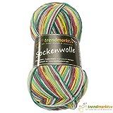 trendmarkt24 Socken-Wolle 4 fädig Rosa-grün, 100g Lauflänge ca. 420m, schadstoffgeprüfte Qualität ✓ Material: 75% Schurwolle, 25% Polyamid ✓ Superwash ✓ Strumpfwolle/Strickwolle 3677258