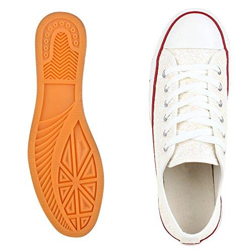 Trendige Unisex Sneakers | Low-Cut Modell | Basic Freizeit Schuhe | Viele Farben | Gr. 36-45 Weiss Glitzer