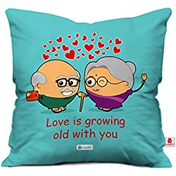 indibni Red Hearts Cute Throw Pillow Valentine love Growing Cushion Cover 12x12 with Filler - Gift for Girlfriend Boyfriend