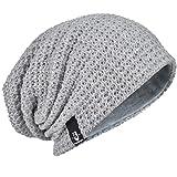 HISSHE Uomini Oversize Beanie Slouch Skull Knit Grande Larghi Berretto da Sci Cappello B08 Pale L
